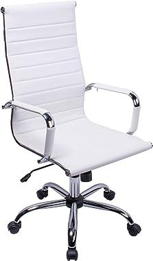 Cuir PU Haute Dossier incurvé Blanc Home Chaise de Bureau Executive Ordinateur Hauteur réglable pivotant Chaise de Bureau