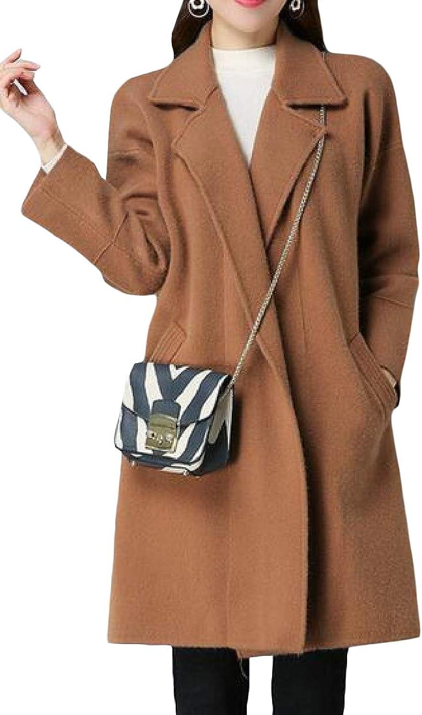 Agana Womens Overcoat Notched Lapel Open Front WoolBlend Midi Long Pea Coats
