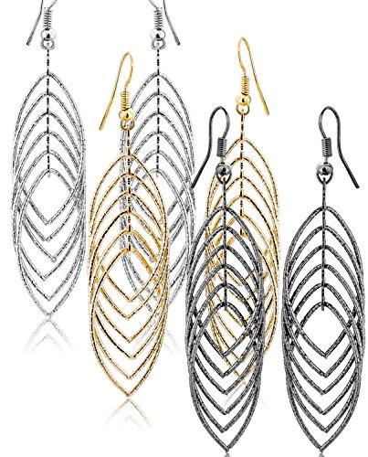 Dangly Drop Hook Earrings For Women Teen Girl Silver Gold And Black Tones Fashion Jewellery Set