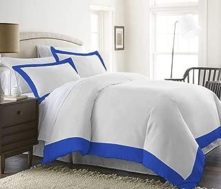 H&H Decor Premium Quality Ultra-Soft Luxurious 3 Pc Two Tone Duvet Cover (1 Duvet Cover & 2 Pillow Shams) 100% Egyptian Cotton Solid 650 TC Size US Oversize King Color Royal Blue