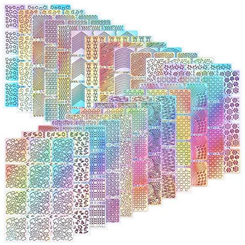 144 Stück Nagelaufkleber Schablonen, Nagel Sticker, Nagel Vinyl Schablonen Aufkleber Set, 24 Blätter Verschiedenes Design Art Nail StickerManiküre Tool Kit (color)