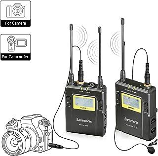Saramonic Uwmic9 UHF Sistema de micrófono inalámbrico de 96 canales Omnidirectional Clip en la solapa Mic Para cámaras DSLR Nikon, Canon, Panasonic, videocámara, para la grabación de video, ENG, TV