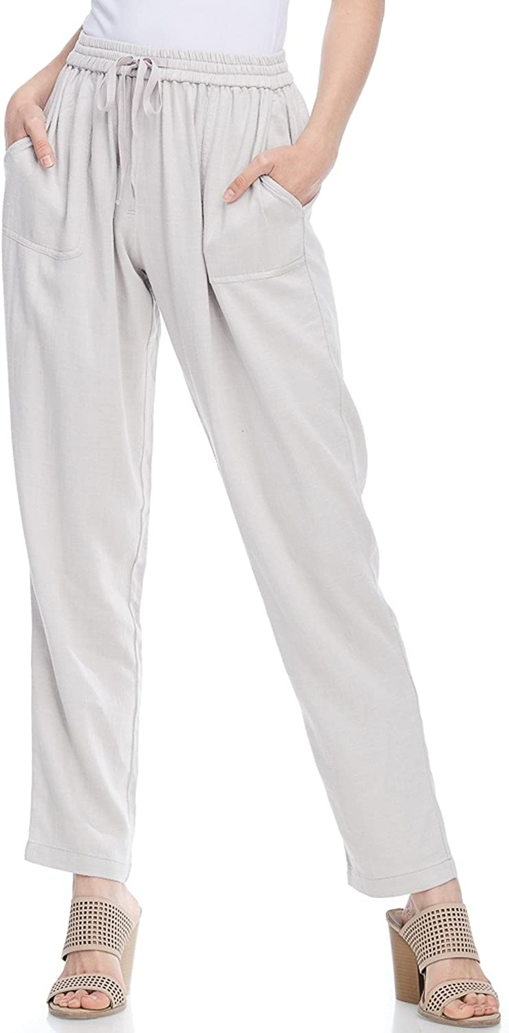 Alexander + David AD Womens Casual Loose Fit Long Linen Pant W Front Pockets