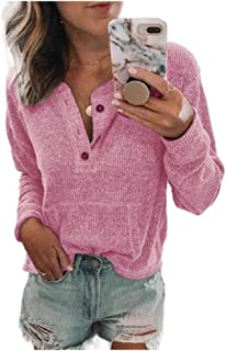 Howely Women Button T-Shirt Solid with Pockets Long Sleeve Tunic Blouse Top