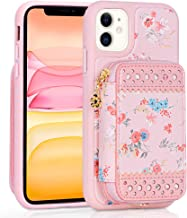 WWW iPhone 11 Case(6.1 inch),iPhone 11 Wallet Case,Premium PU Leather Wallet Case with Card Holder Slots Zipper Wallet Pocket Purse Wrist Strap Shockproof Case for iPhone 11 6.1 Inch 2019 Pink