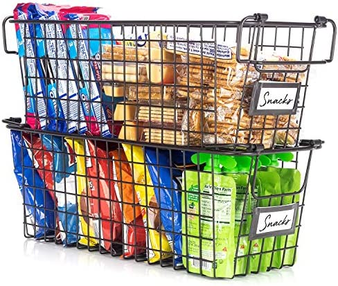 Gorgeous Stackable Wire Baskets For Pantry Storage and Organization Set of 2 Pantry Storage product image