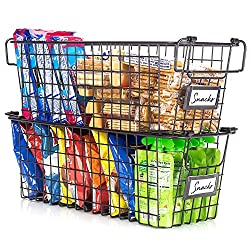 2 stacked wire organizing baskets