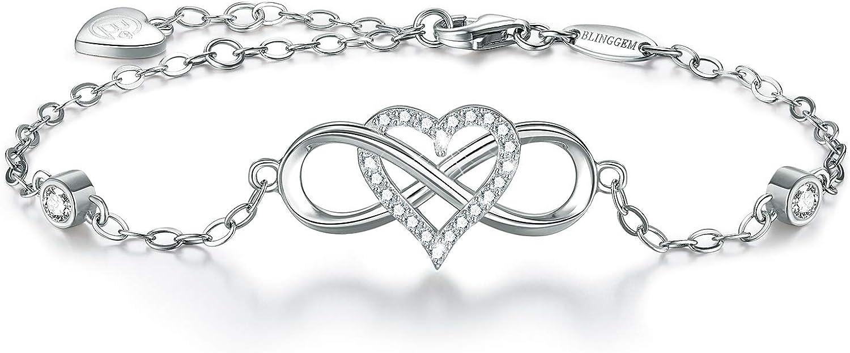 BlingGem Bracelet Time sale for Women 925 Year-end annual account G Silver Something Sterling Blue
