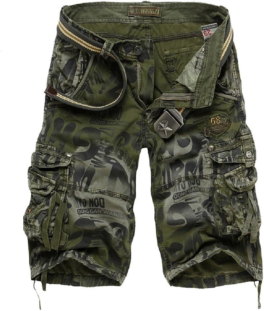 SHDIBA Mens Causal Camoflage Cargo Shorts Cotton Multi Pocket Sports-Wear