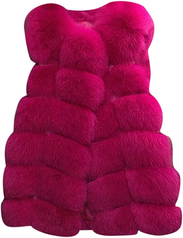 US&R Women Quilted Thick Faux Fur Solid Color Fluffy Medium Winter Vest