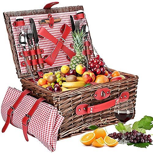 massager 2 Person Picknickkorb Set Wicker Picknickkorb wasserdichte Picknickdecke, geeignet für Picknicks und Camping am See am Strand