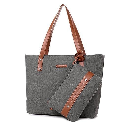 SAMSHOWS Women Canvas Daily Tote Bag Shopping Handbag Large Travel Holiday  Summer Shoulder Bag with Purse 18953ba3a362b