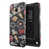 Glitbit Compatible with Samsung Galaxy S8 Case Pizza Slice Food Patches Pattern Embroidery in Crust We Trust Food Addict Rip Diet Thin Design Durable Hard Shell Plastic Protective Case Cover