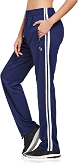 Women's Open Bottom Lounge Sweat Pants Jogger Athletic Sweatpants Straight Leg Zippered Pockets