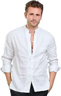 Men's Linen Mandarin Collar Roll-Up Sleeves Casual Buttoned Shirt