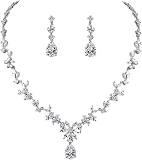 Women Cubic Zirconia Marquise Teardrop Bridal Necklace and Dangling Earring Jewelry Set for Wedding