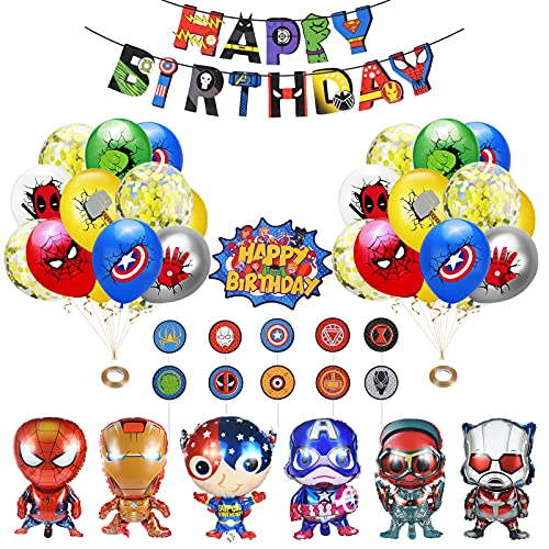 Superhelden Luftballon, Superhelden Luftballons Geburtstag, Superhelden Geburtstagsdeko, Avengers Banner Tortendekoration Mädchen Junge Geburtstags Ballons Party Deko