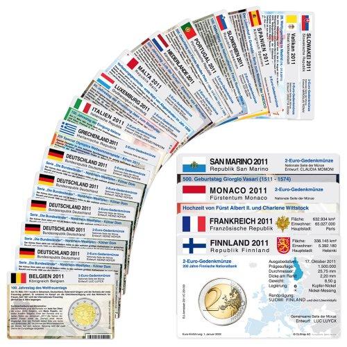 20 Münzkarten (16 Länder ohne Münze) von 2011 für 2-Euro Gedenkmünzen Größe: ca. 86 x 54 mm Material: Karton ca. 350g/m²