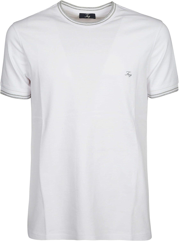 FAY Men's NPMB338135SITOB001 White Cotton TShirt