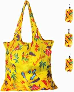 Set of 3 Reusable Shopping Bags for Women Foldable, Large Heavy Duty Washable Tote Bags, (Yellow Romantic Coast, L)