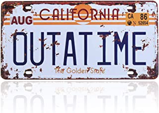 Outatime Back to The Future License Plate Memorabilia, Embossed License Plate Replica, Delorean Movie Prop Metal Stamped Vanity Number Tag, 12x6 inch