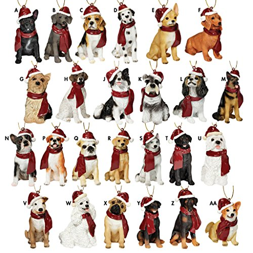 Design Toscano Assorted Dog Holiday Christmas Tree Ornament Xmas Decorations, 3 Inch, Set of 25, Full Color
