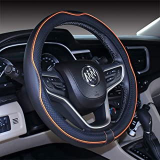 2019 New Micro Fiber Leather Car Steering wheel Cover 15 inches (Black Orange)