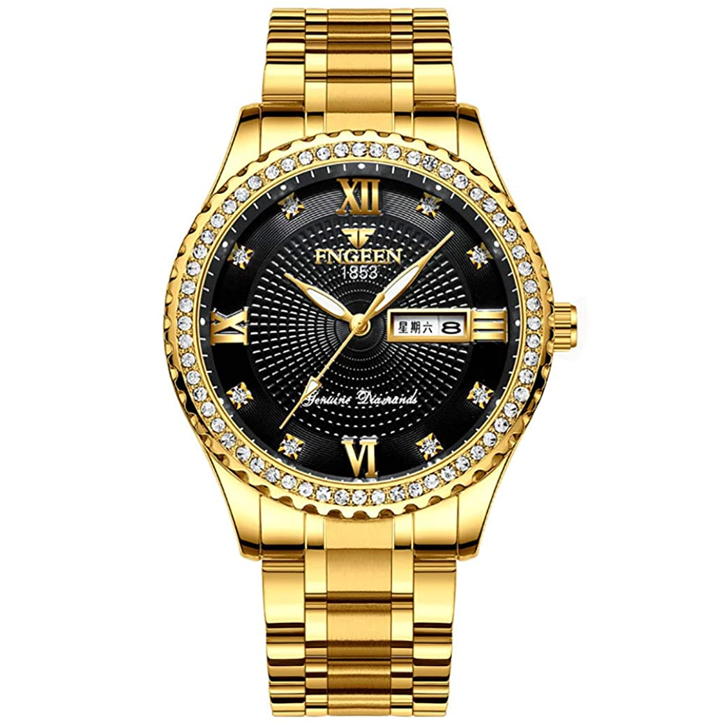 Men's Watches Luxury Fashion Casual Dress Quartz Wrist Watches for Men Stainless Steel Band Gold Color (# 1) mhkj9434762927
