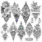 LAROI 9 Blätter Indische Spitzenrose Blume Wasserdicht Temporäre Tattoos Für Frauen Erwachsene Gefälschter Tattoo Aufkleber Lotusstil Körperkunst Mädchen Sexy Tattoos