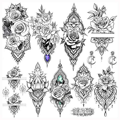 LAROI 9 Blätter Indische Spitzenrose Blume Wasserdicht Temporäre Tattoos Für Frauen Erwachsene Gefälschter Tattoo Aufkleber Lotusstil Körperkunst Mädchen Sexy Tattoos Unter der Brust