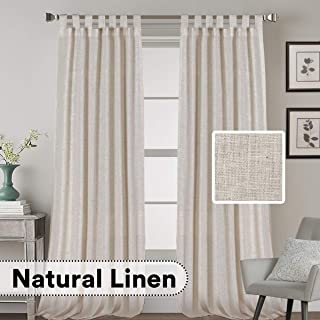 H.VERSAILTEX Natural Effect Extra Long Curtains Made of Linen Mixed Rich Material, Tab Top Curtains Pair Window Curtains/Drape/Panels for Bedroom (Set of 2, 52 by 108 Inch, Angora)