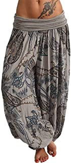 Loose Pocket Button Harem Pants Women Casual Print Pants Wide Leg Pants