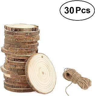 Vosarea 50pcs Rodajas de pintura de madera Doodle de adornos en forma redonda Decoraciones de bricolaje Artesan/ía en madera Accesorios Colgantes peque/ños para adornos para el hogar 60 mm