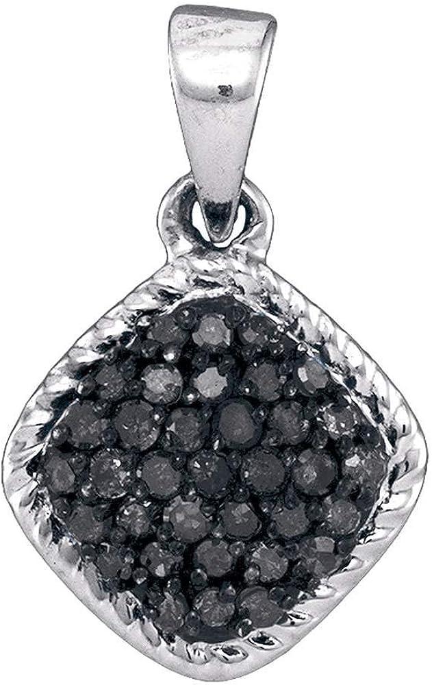 Tiea 10kt White Gold Max 84% OFF New item Womens Round Black Diamond Color Enhanced C