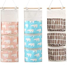 Kcnsieou Lot de 3 sacs de rangement avec 4 poches pour chambre à coucher