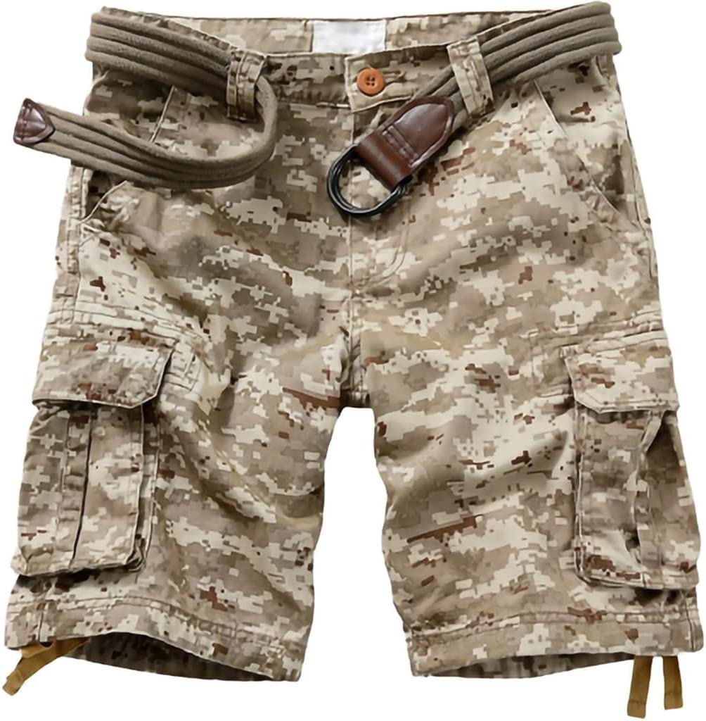 YHRJ Men's Dungarees Loose Straight Cargo Shorts, Multi-Pocket 5 Points Casual Pants, Large Size Travel Hiking Shorts with Belt (Color : Camouflage C, Size : 31)