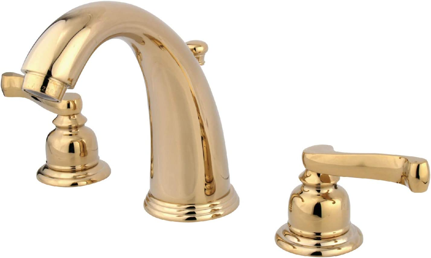Kingston Brass Kb982fl Royale Widespread Lavatory Faucet With Brass Pop Up Polished Brass 8 Inch Adjustable Center Touch On Bathroom Sink Faucets