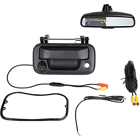 Tailgate Backup Camera Compatible with Ford F150 2004-2014, F550 F450 F350 F250 2008-2016 Tailgate Handle Removable Guideline Super Night Vision Reverse Backup Camera Rear View Backup Camera