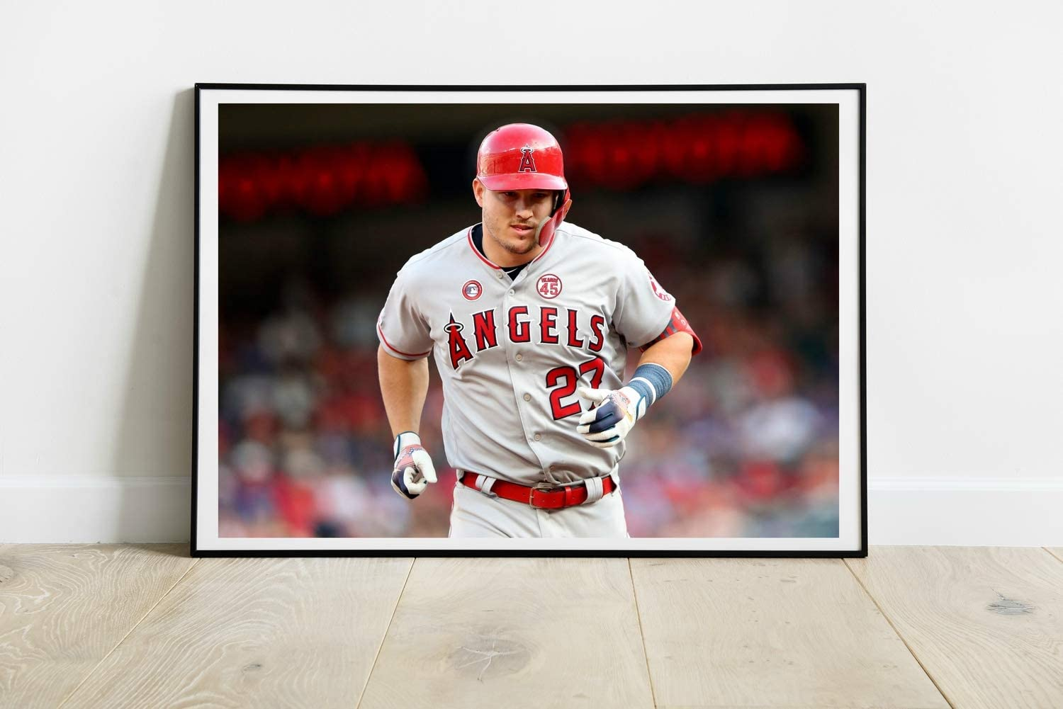 Angels Player Poster Compatible with Mike Trout, Art Print, Wall Decor for Bedroom Living Room Office College Room, Great Gift Idea, Decoration Unframed Size (S - 11