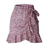 WGGY Falda Mujer,Falda Acampanada De Cintura Alta Leopardo E