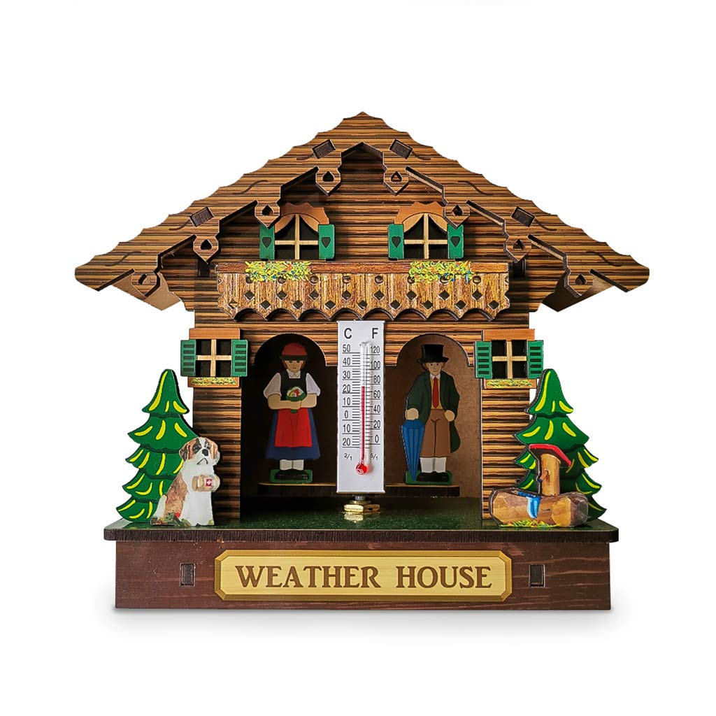 Milue Creative Wooden Regular store House Sale Barometer Thermometer Mounted Wall W