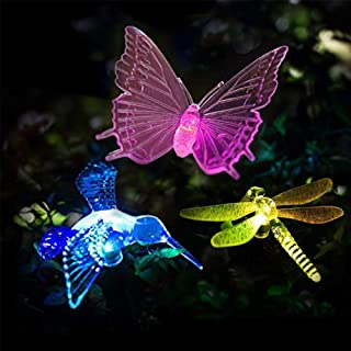 VIBELITE Solar Garden Lights Outdoor,Solar Garden Multi-Color Changing Stake Lights, Decorative Lights Hummingbird Butterfly Dragonfly for Path, Yard, Lawn, Patio [Set of 3]