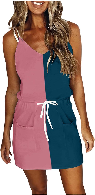 ORT Dresses for Women 2021,Casual V Neck Sleeveless Spaghetti Dresses Striped Splicing Sling Strap Mini Dress with Belt