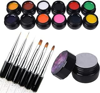 12 Pcs 3D 8g Gel Nail Art Painting Gel Designs Painting Drawing Gel Soak Off UV LED Manicure with Brush Set