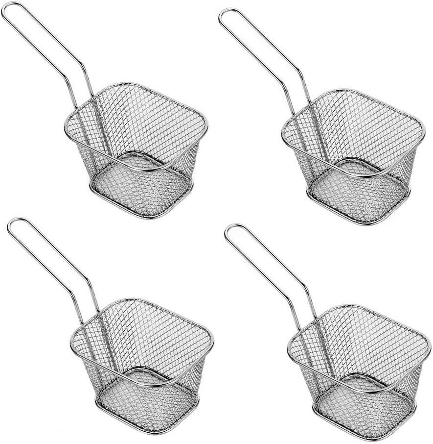 Mini cesta de acero inoxidable para freidora de cocina, cesta de presentación de alimentos (4 piezas)