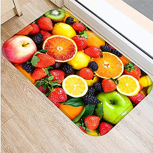 HLXX Fruit Strawberry Pattern Anti-Slip Suede Carpet Door Mat Doormat Outdoor Kitchen Living Room Floor Mat Rug A13 40x60cm