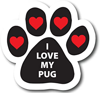 Magnet Me Up I Love My Pug Pawprint Car Magnet Paw Print Auto Truck Decal Magnet