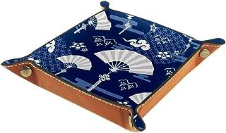 BestIdeas Panier de rangement carré 20,5 × 20,5 cm, avec ventilateur bleu traditionnel, boîte de rangement sur table pour ...