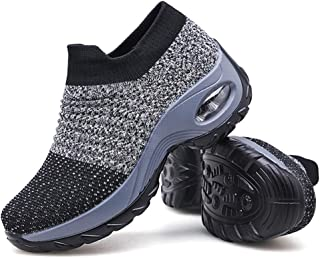 Slow Man Women's Walking Shoes Sock Sneakers - Mesh Slip On Air Cushion Lady Girls Modern Jazz Dance Easy Shoes Platform Loafers