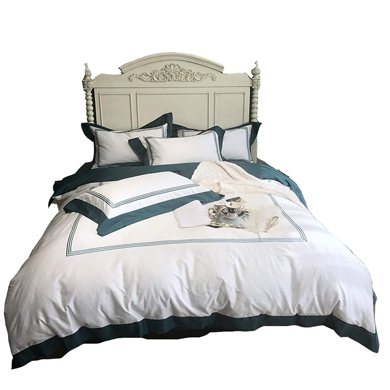 調和のとれた大胆不敵キャンペーン4ピースコットンセット寝具、夏無地布団カバーセットシート枕カバー,E,1.5/1.8mbed